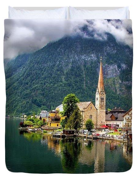 Hallstatt Across The Lake, Austria  Duvet Cover