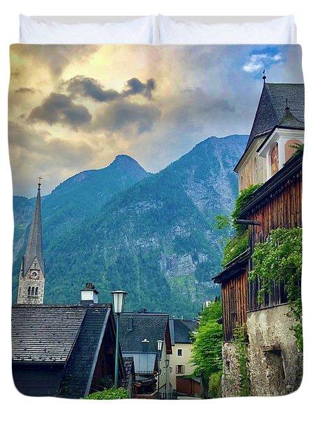 Hallstatt Village Stroll Duvet Cover