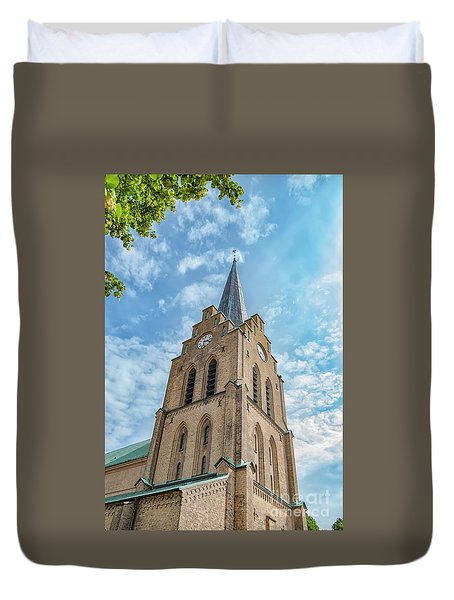 Duvet Cover featuring the photograph Halmstad Church In Sweden by Antony McAulay