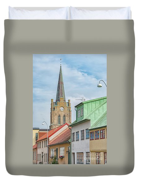 Duvet Cover featuring the photograph Halmstad Street Scene by Antony McAulay