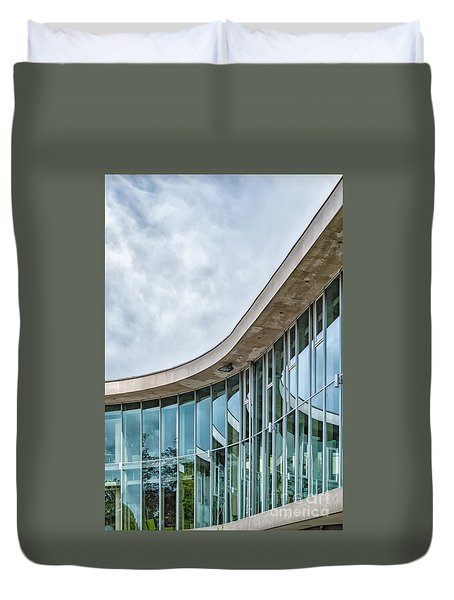 Duvet Cover featuring the photograph Halmstad University Labrary Detail by Antony McAulay