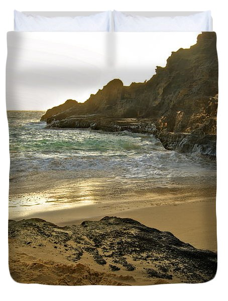 Halona Beach Cove Duvet Cover by Michael Peychich