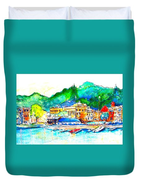 Halycon Days At The Blue Water Duvet Cover