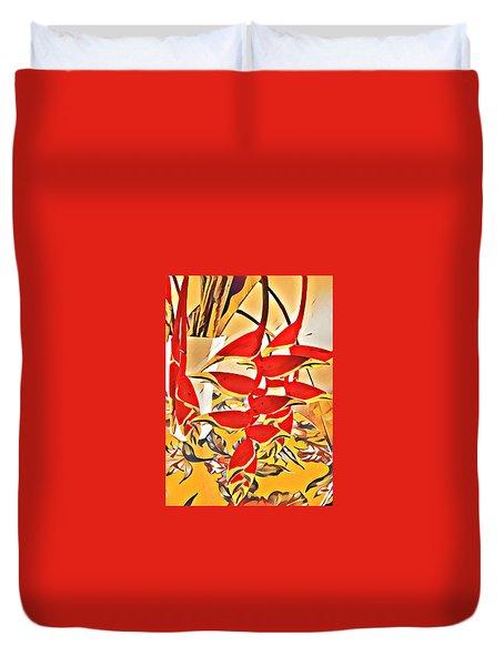 Halyconia Bouquet In Orange Duvet Cover