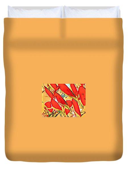 Halyconia Closeup In Orange Duvet Cover