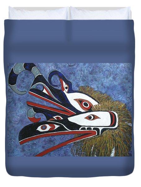 Hamatsa Masks Duvet Cover by Elaine Booth-Kallweit