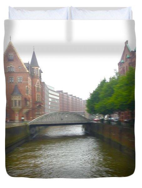 Hamburg Germany Canal Duvet Cover