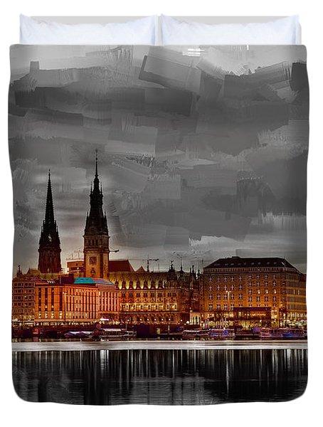 Hamburg Germany Skyline 01 Duvet Cover