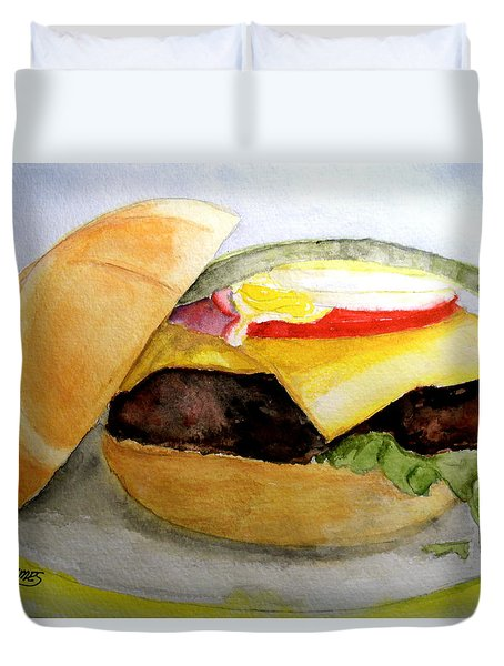 Hamburger On Kasier Roll Duvet Cover