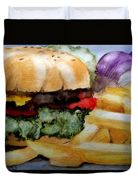 Hamburger  With Fries Duvet Cover