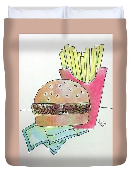 Hamburger With Fries Duvet Cover by Loretta Nash