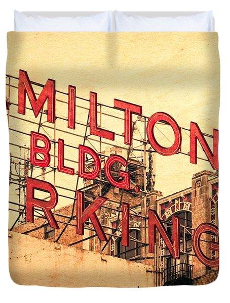 Hamilton Bldg Parking Sign Duvet Cover