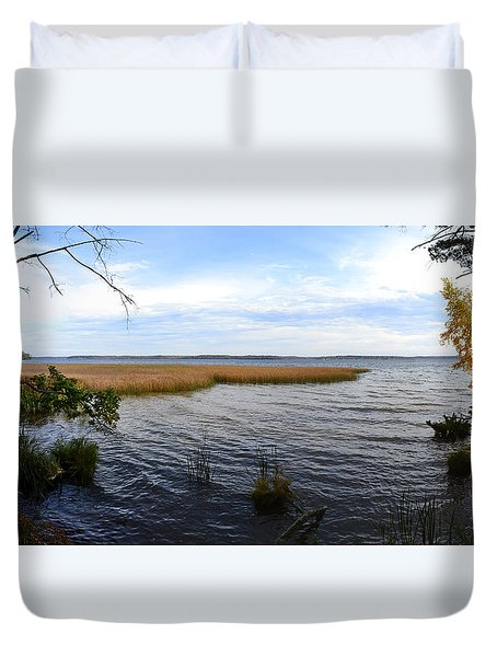 Duvet Cover featuring the photograph Hamlin Lake In Autumn by Michelle Calkins