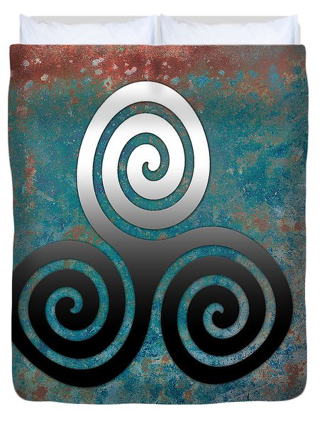 Duvet Cover featuring the digital art Hammered Metal Triple Spiral by Kandy Hurley