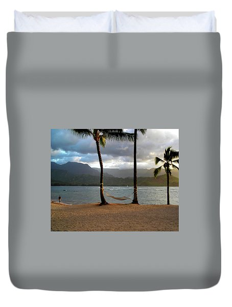 Hammock At Hanalei Bay Duvet Cover