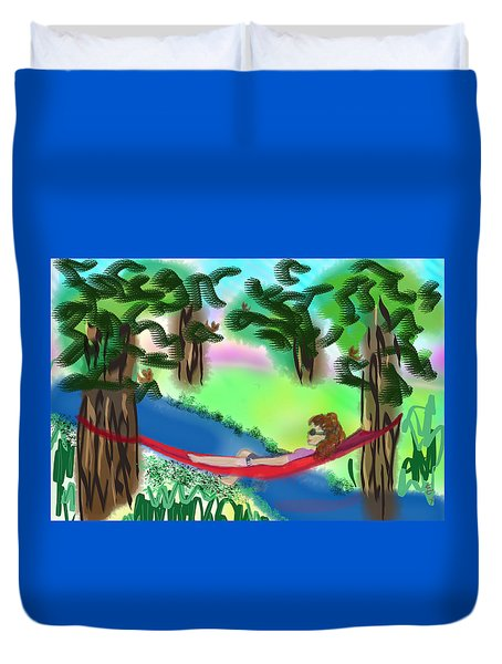 Hammock Under The Chihuahua Trees Duvet Cover