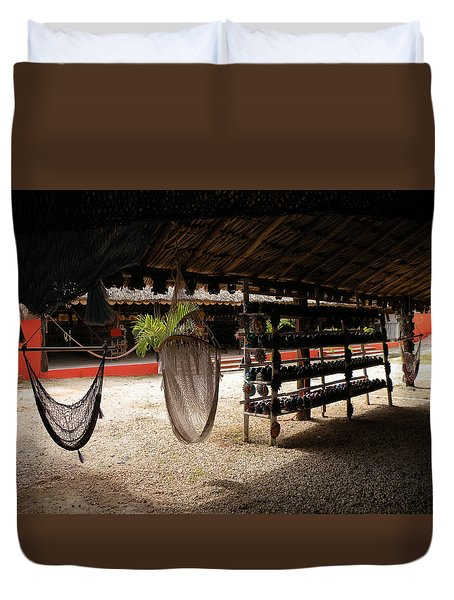 Duvet Cover featuring the photograph Hammocks At A Reststop by Dianne Levy