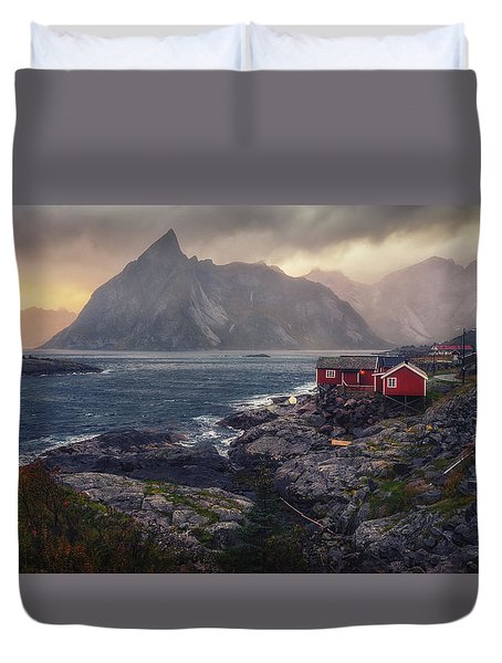 Duvet Cover featuring the photograph Hamnoy by James Billings