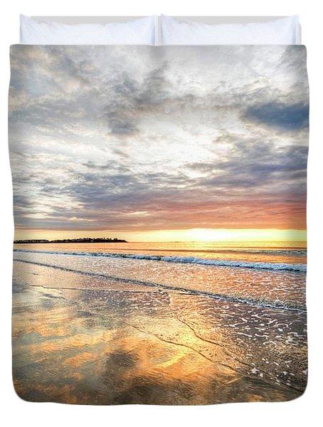 Hampton Beach Sunrise Hampton Beach State Park Hampton Nh Reflection Duvet Cover