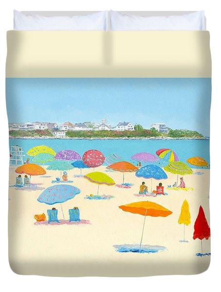Hampton Beach Umbrellas Duvet Cover