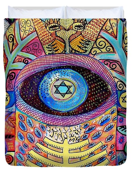 -hamsa Menorah Tree Of Life - Bright Lights  Duvet Cover
