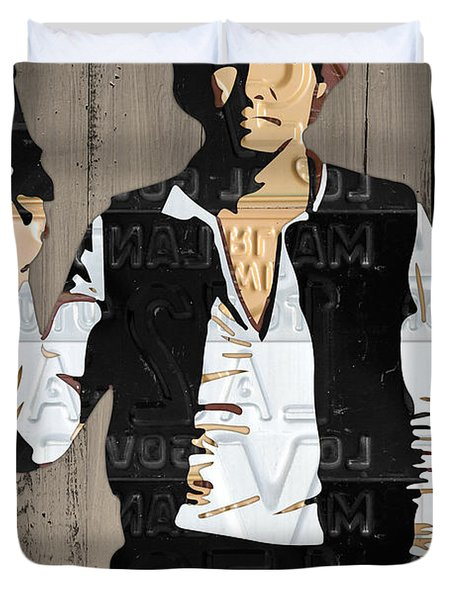 Han Solo Vintage Recycled Metal License Plate Art Portrait On Barn Wood Duvet Cover