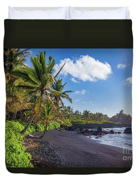 Hana Bay Palms Duvet Cover by Inge Johnsson