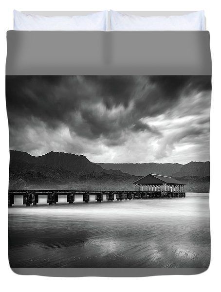 Hanalei Pier In Black And White Duvet Cover
