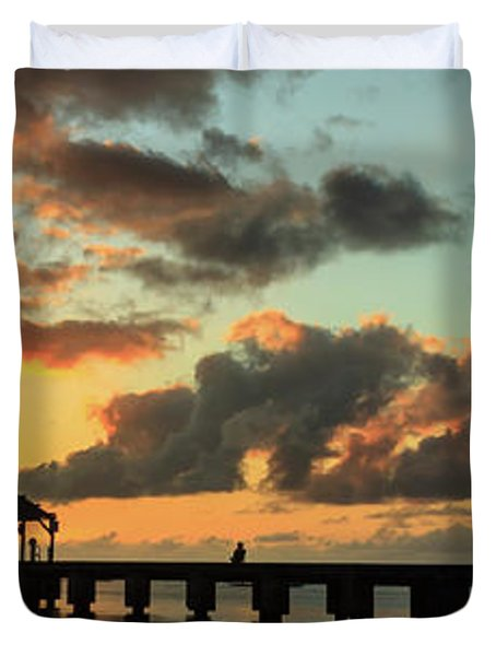 Hanalei Pier Sunset Panorama Duvet Cover