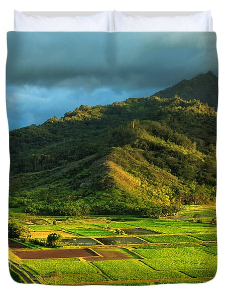Hanalei Valley Taro Fields Duvet Cover