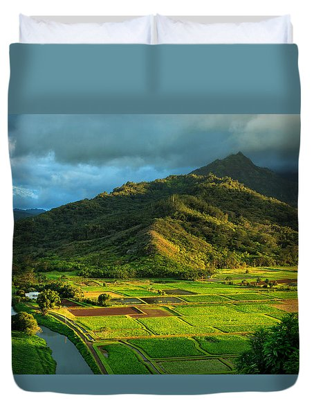 Hanalei Valley Taro Fields Duvet Cover
