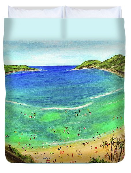 Hanauma Bay Hawaiian #336 Duvet Cover by Donald k Hall