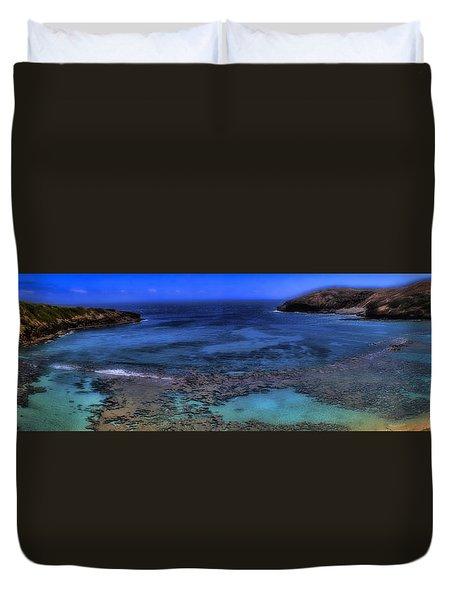 Duvet Cover featuring the photograph Hanauma Bay Panorama by Ellen Heaverlo