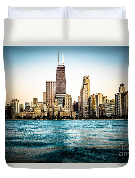 Hancock Building And Chicago Skyline Photo Duvet Cover by Paul Velgos