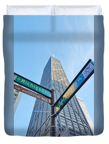 Hancock Building With Street Signs Duvet Cover