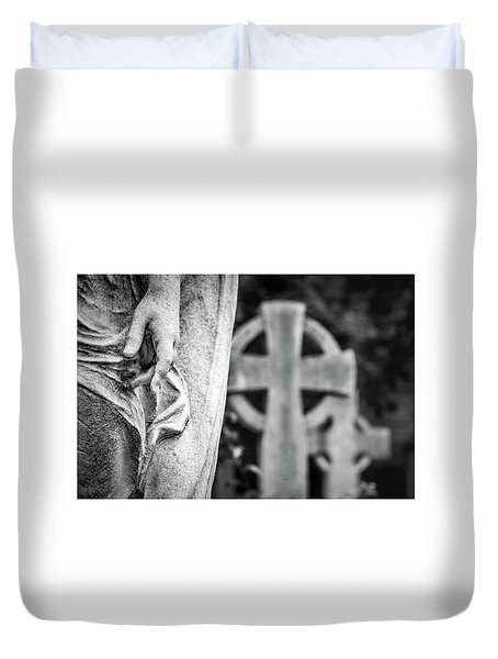 Duvet Cover featuring the photograph Hand And Cross by Sonny Marcyan