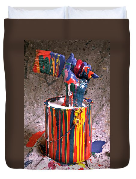 Hand Coming Out Of Paint Can Duvet Cover by Garry Gay