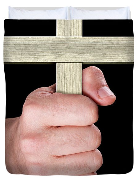 Hand Holding Crucifix Duvet Cover