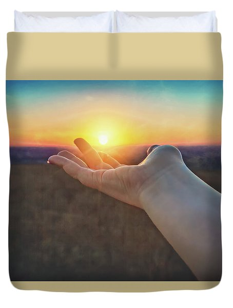 Duvet Cover featuring the photograph Hand Holding Sun - Sunset At Lapham Peak - Wisconsin by Jennifer Rondinelli Reilly - Fine Art Photography
