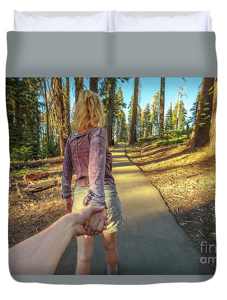 Hand In Hand Sequoia Hiking Duvet Cover