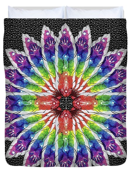 Duvet Cover featuring the mixed media Hand Totem Mandala by Kym Nicolas