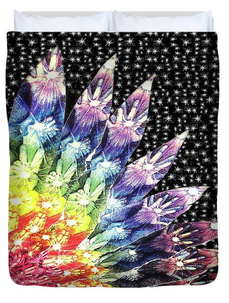 Duvet Cover featuring the mixed media Hand Totem Wing by Kym Nicolas