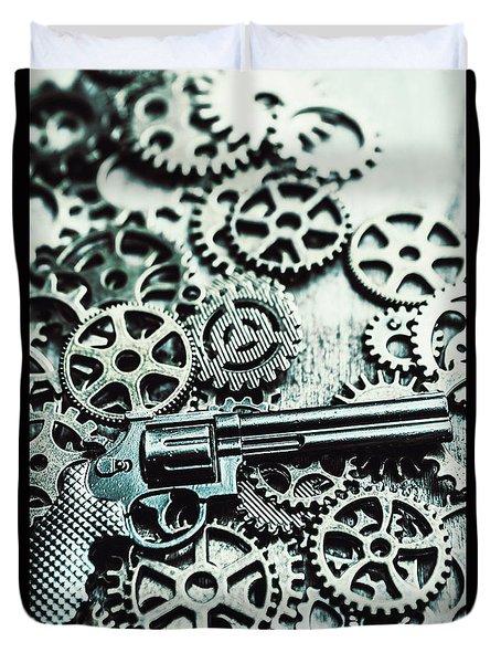 Handguns And Gears Duvet Cover