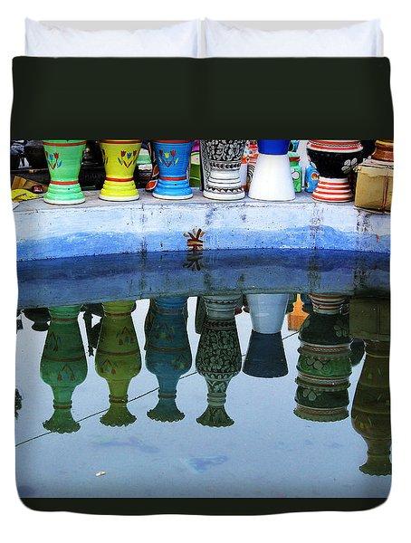 Handmade Clay Pots Duvet Cover by Prakash Ghai