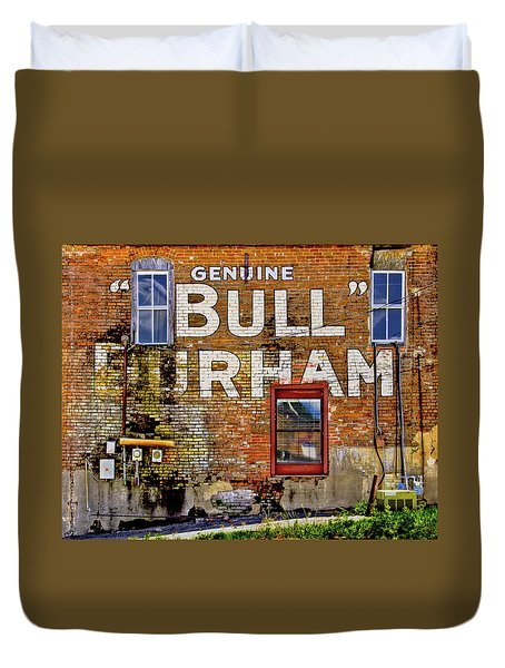 Duvet Cover featuring the photograph Handpainted Sign On Brick Wall by David and Carol Kelly