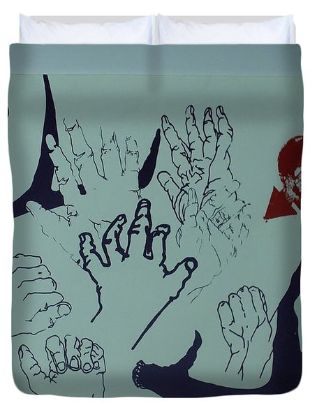 Duvet Cover featuring the mixed media Hands And Horns by Erika Chamberlin