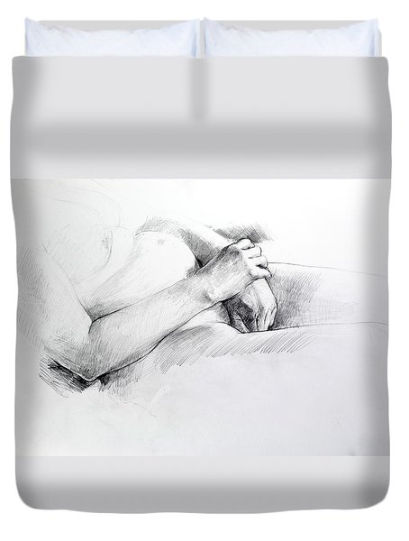 Duvet Cover featuring the drawing Hands by Harry Robertson