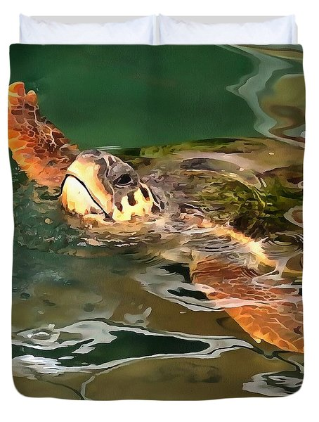 Hands Up For A Plastic Free Ocean Loggerhead Turtle Duvet Cover