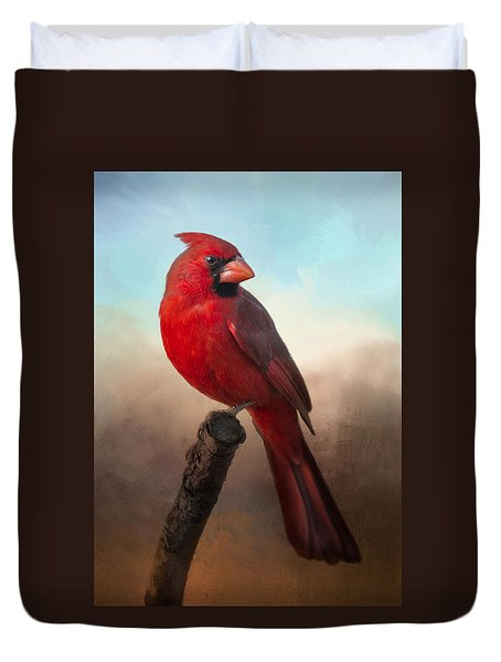 Handsome Cardinal Duvet Cover by Barbara Manis