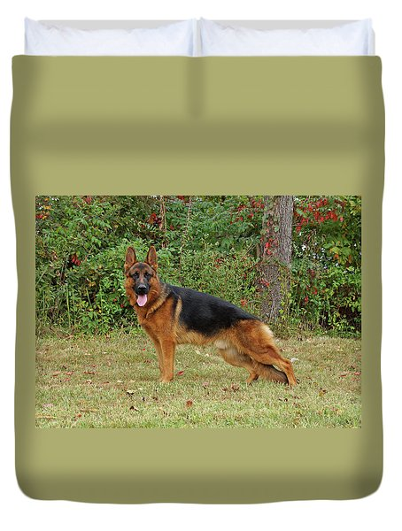 Duvet Cover featuring the photograph Handsome Rocco by Sandy Keeton